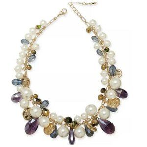 Charter Club Pearl Coin & Bead Statement Necklace